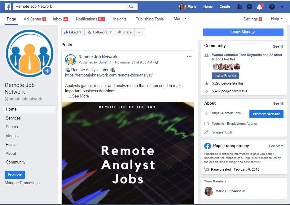 Remote Job Network Facebook