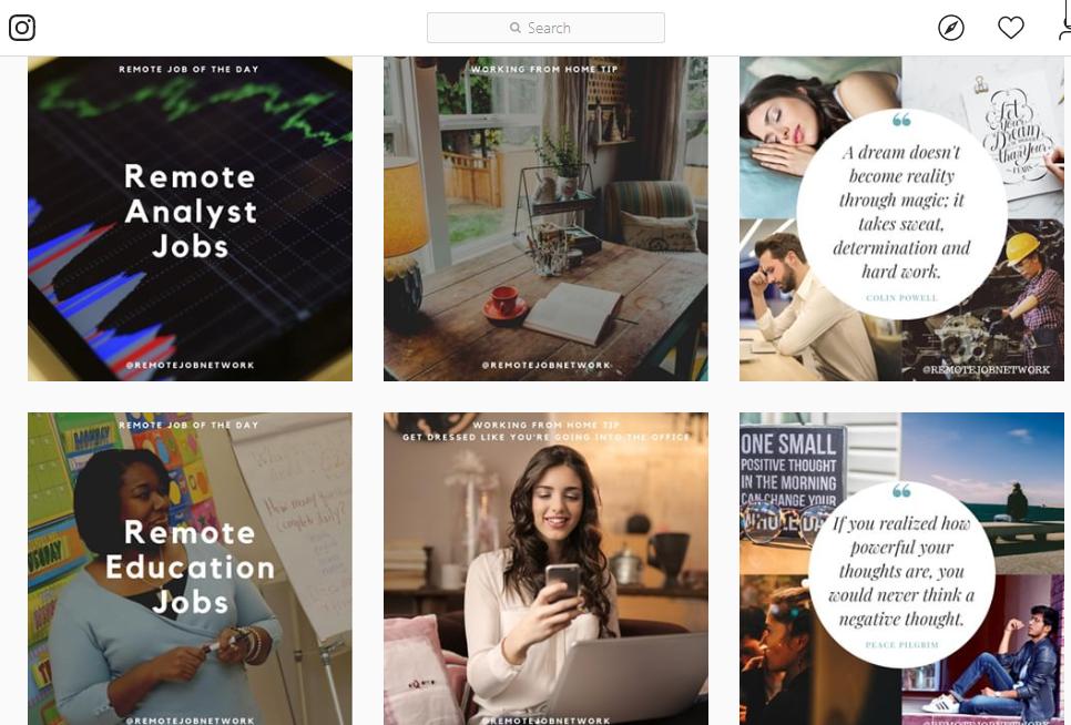 Remote Job Network Instagram